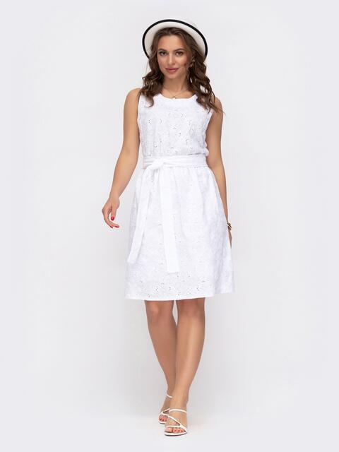 Расклешенное платье из прошвы белого цвета 46942, фото 1