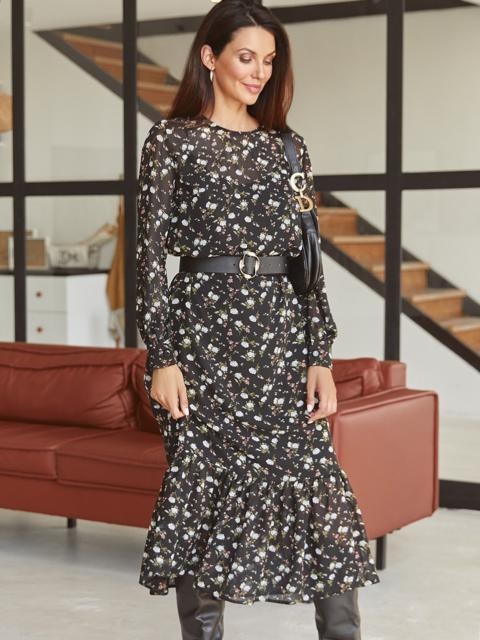 Черное платье-миди из шифона с принтом и оборкой по низу 54870, фото 1