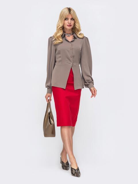Костюм цвета хаки из блузки с баской и юбки 50136, фото 1