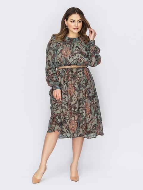 Платье батал из шифона с принтом и расклешенной юбкой зеленое 53661, фото 1