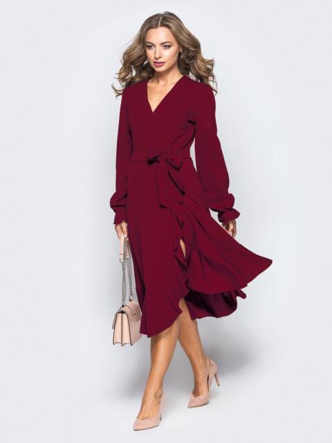 Платье с запахом бордового цвета из креп-дайвинга 16501, фото 1