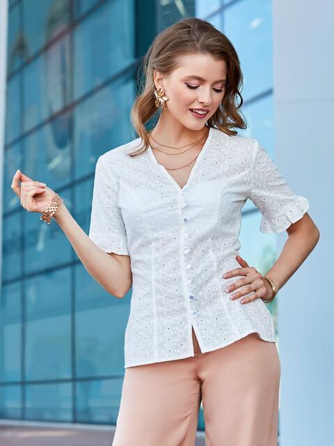 Приталенная блузка из прошвы белая 40244, фото 1