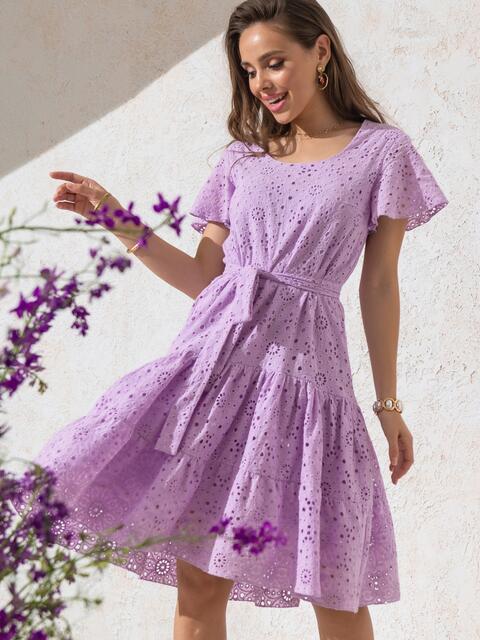 """Сиреневое платье из прошвы с рукавом """"крылышко"""" 49550, фото 1"""
