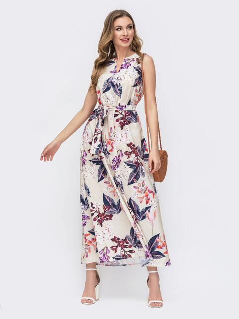 Бежевое платье свободного кроя с цветочным принтом 47085, фото 1