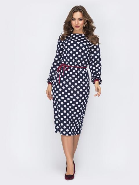 Платье в горох с поясом на резинке тёмно-синее 44216, фото 1