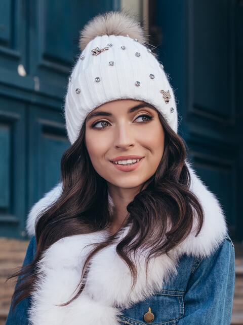Белая шапка на флисе с помпоном 40332, фото 1