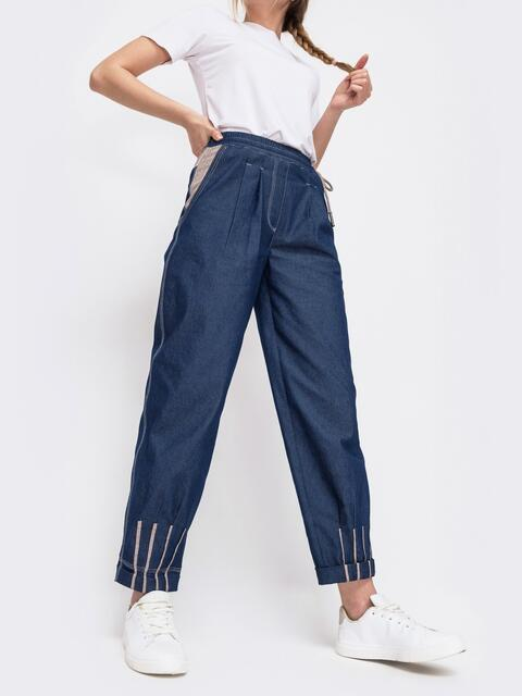 Джинсовые брюки с талией на кулиск синие 47743, фото 1