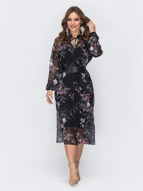 Платье из шифона с цветочным принтом и воротником-аскот чёрное 44186, фото 1