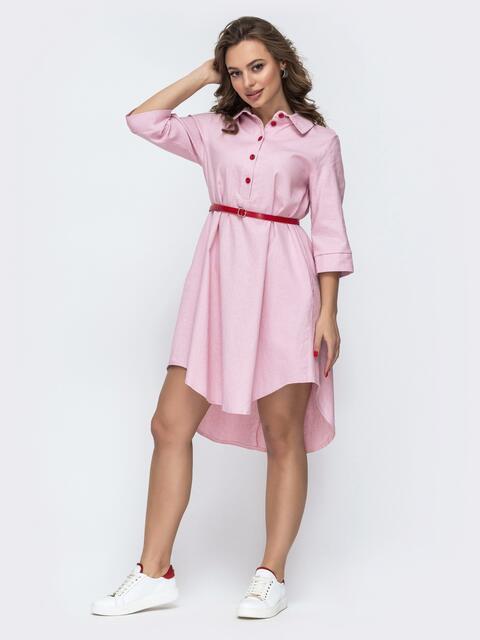 Платье-рубашка с удлиненной спинкой и поясом розовое 46724, фото 1