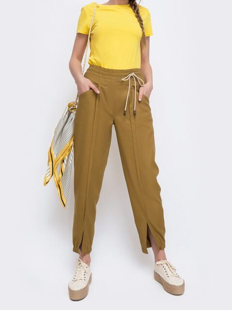 Укороченные брюки с резинкой по талии желтые 47749, фото 1