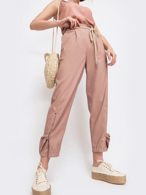 Укороченные брюки с завышенной талией розовые 47745, фото 1