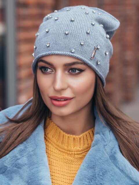 Вязаная шапка-бини с камнями серо-синяя 40313, фото 1