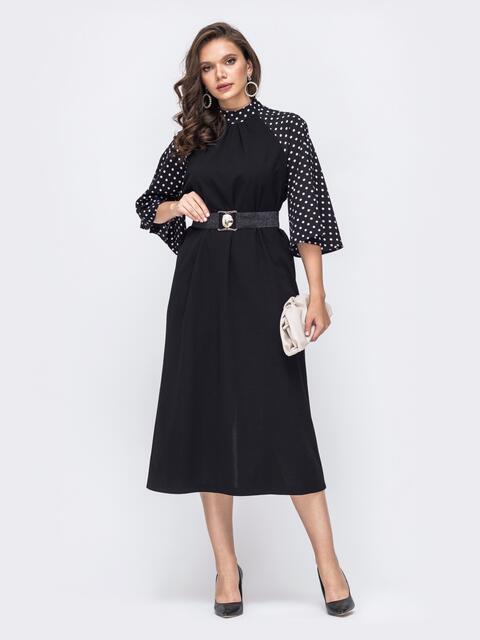 Чёрное платье батал с рукавом-реглан в горох 51526, фото 1