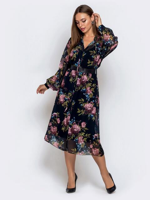 Чёрное платье из шифона с цветочным принтом и воротником-аскот 41991, фото 1