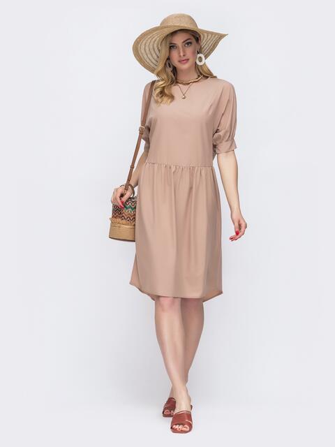 Бежевое платье свободного кроя с широкой юбкой 48582, фото 1