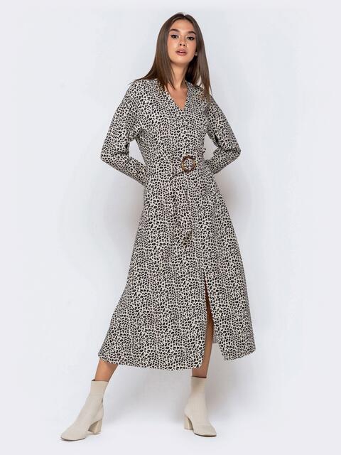 Леопардовое платье-макси с V-вырезом и разрезом спереди 41015, фото 1