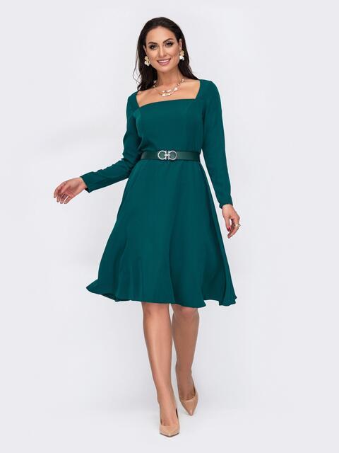 Расклешенное платье батал с квадратным вырезом зеленое 52049, фото 1