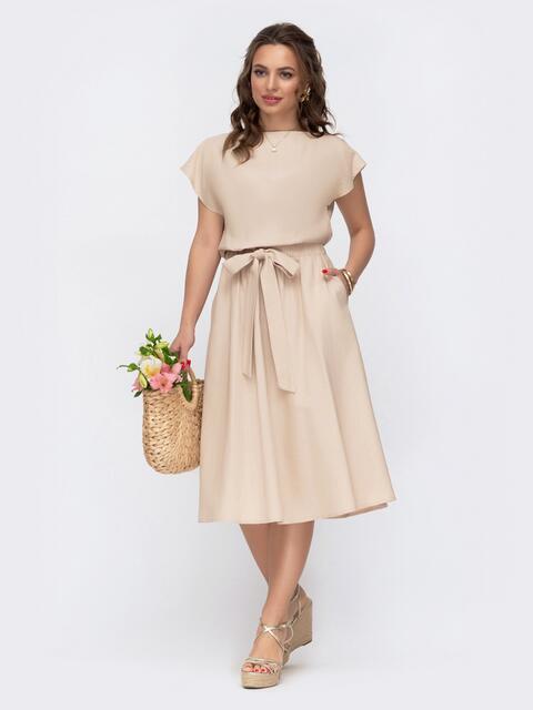 Бежевое платье из льна с вырезом по спинке и расклешенной юбкой 46677, фото 1