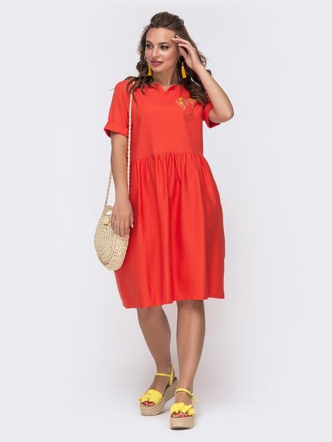 Платье из льна с вышивской на полочке коралловое 48162, фото 1