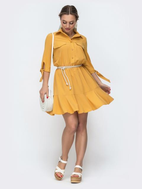 Платье-мини с рубашечным верхом желтое 46686, фото 1