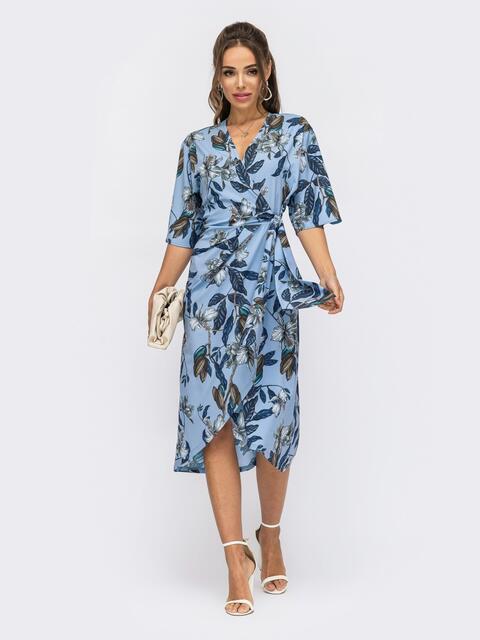 Принтованное платье с юбкой на запах голубое 53871, фото 1
