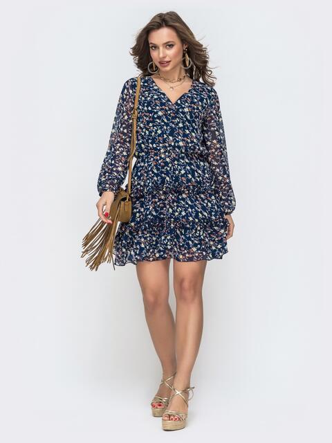 Шифоновое платье с принтом и рюшами по юбке тёмно-синее 46688, фото 1