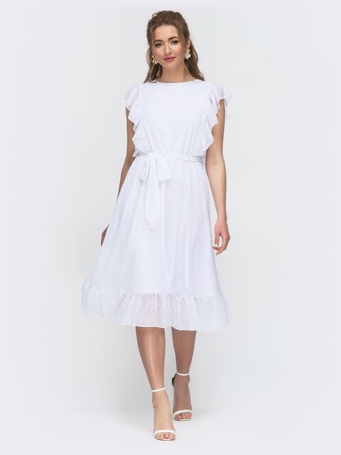 Шифоновое платье с расклешенной юбкой белое 46682, фото 1