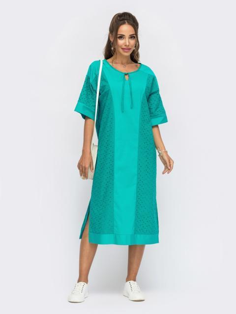 Свободное платье из прошвы с разрезами по бокам бирюзовое 53863, фото 1