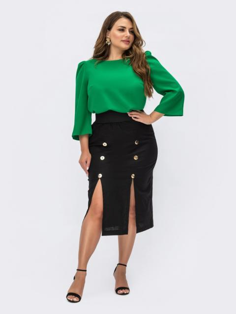 Черная юбка из льна с пуговицами 54400, фото 1