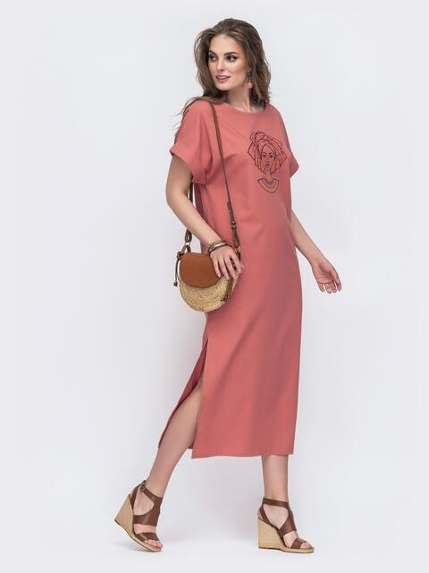 Длинное платье из льна с вышивкой на полочке терракотовое 48164, фото 1