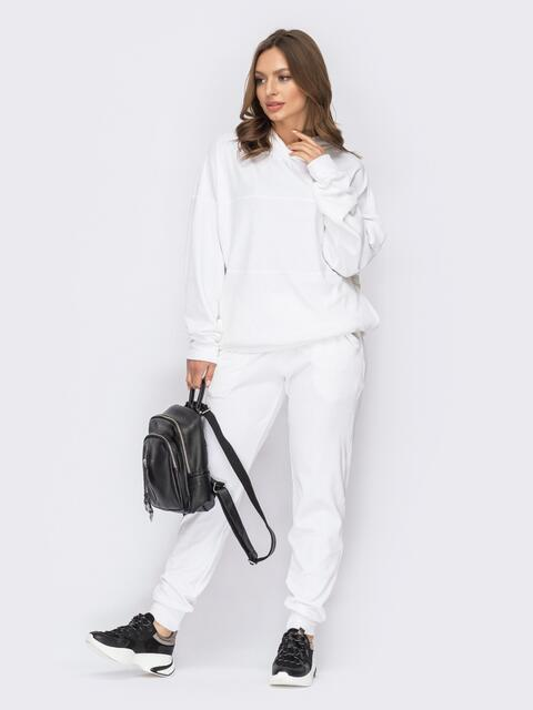 Велюровый костюм белого цвета из худи и брюк 53680, фото 1