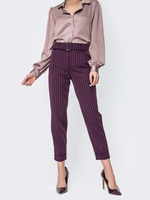 Зауженные брюки в полоску бордовые 45030, фото 1