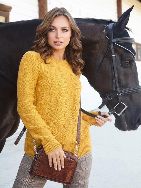 Ажурный свитер с резинкой на манжетах горчичный 41174, фото 1