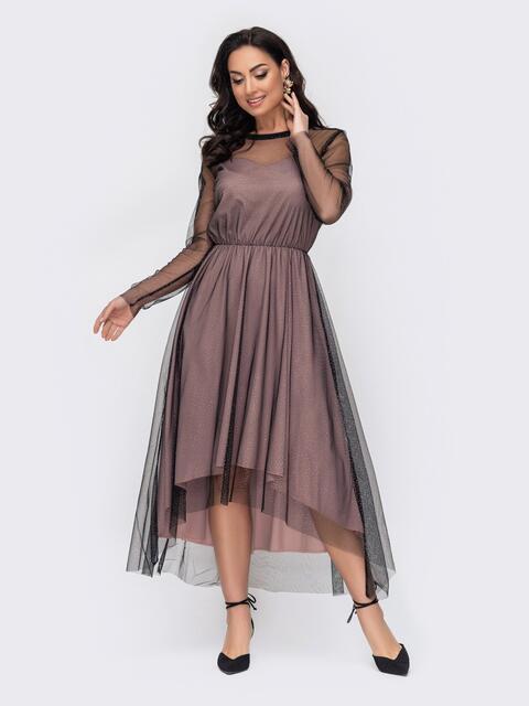 Бежевое платье батал из фатина с блестящим вкраплением 52759, фото 1