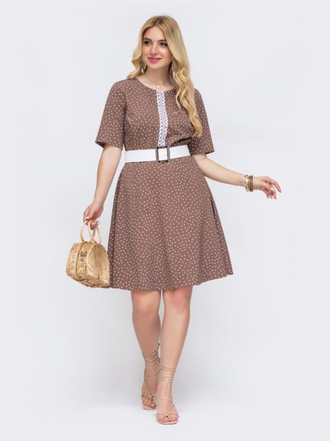 Бежевое платье батал в горох с расклешенной юбкой 49212, фото 1