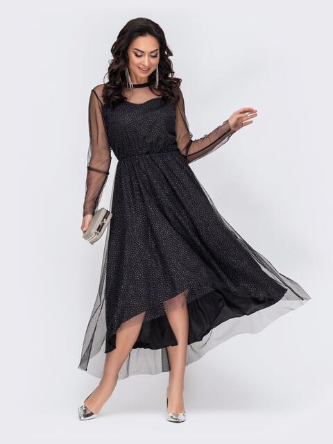 Черное платье батал из фатина с блестящим вкраплением 52758, фото 1