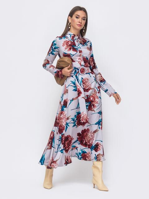 Длинное платье-рубашка из штапеля с принтом серое 51167, фото 1