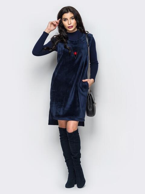 Меховое платье с удлиненной спинкой и карманами на полочке 16254, фото 1