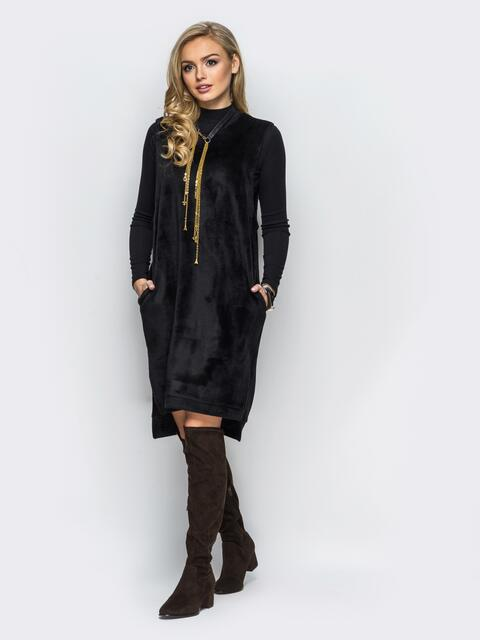 Платье черного цвета из меха без рукавов 17707, фото 1