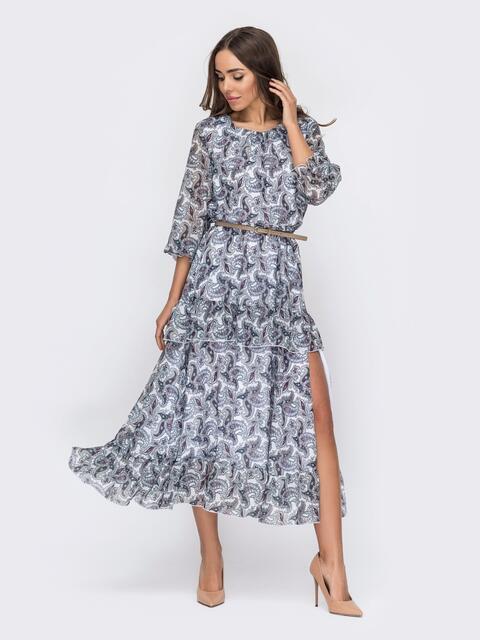 Платье-миди из шифона с принтом и высоким разрезом белое 53102, фото 1