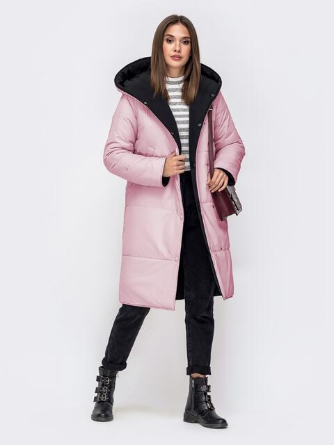 Двухсторонняя куртка с объемным капюшоном пудровая 41709, фото 1
