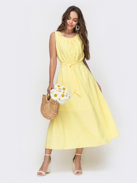 Желтое платье с расклешенной юбкой 49152, фото 1