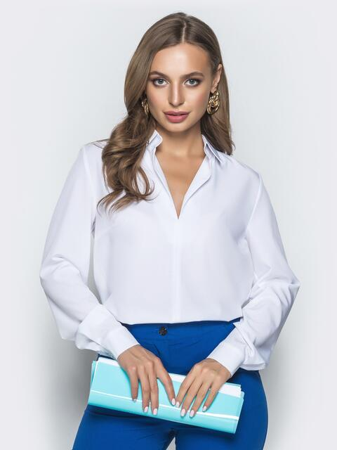 Белая блузка из софта с V-вырезом 40091, фото 1