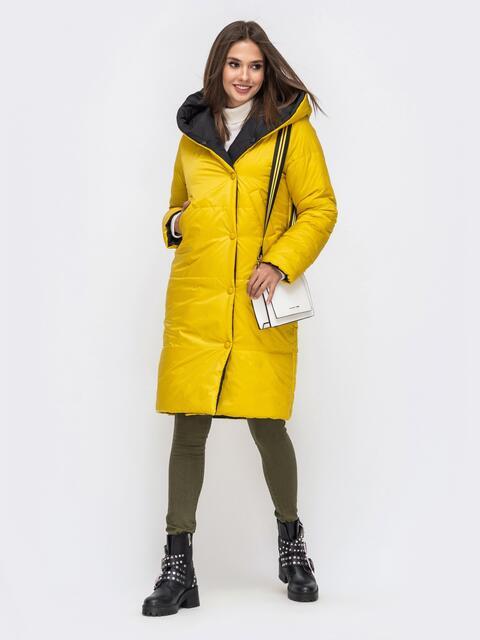 Двухсторонняя куртка желтого цвета с объемным капюшоном 42615, фото 1