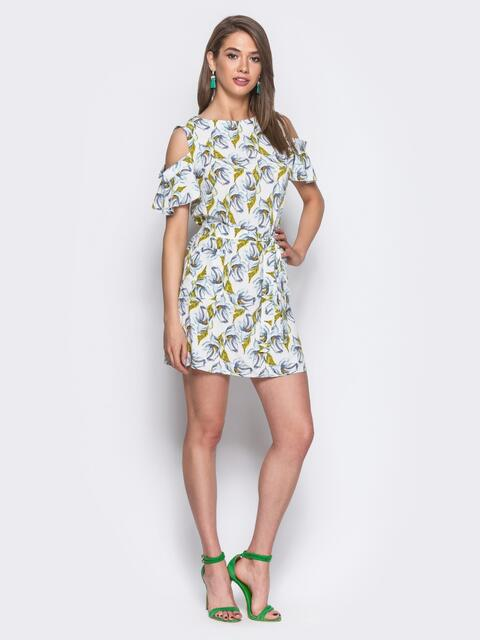 Платье-мини с открытыми плечами, принт «зеленые листочки» 11063, фото 1