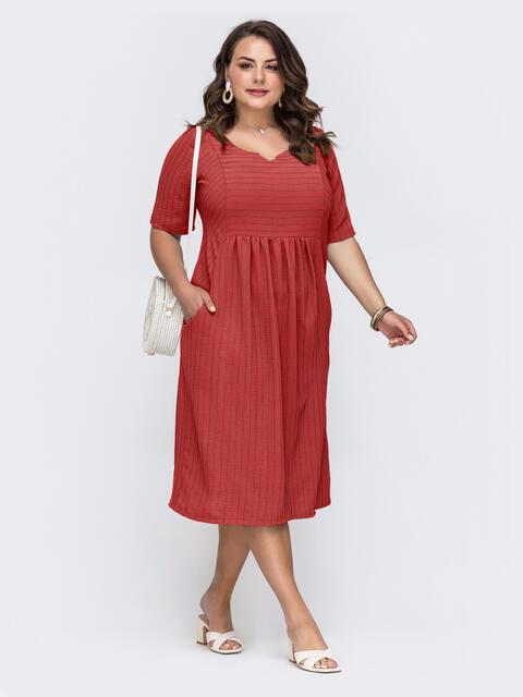 Приталенное платье батал терракотового цвета в полоску 53789, фото 1