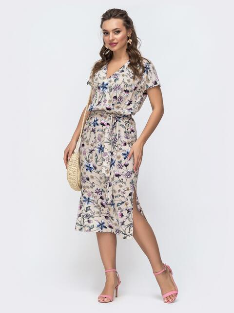 Бежевое платье с принтомна запах и разрезами по бокам 46851, фото 1