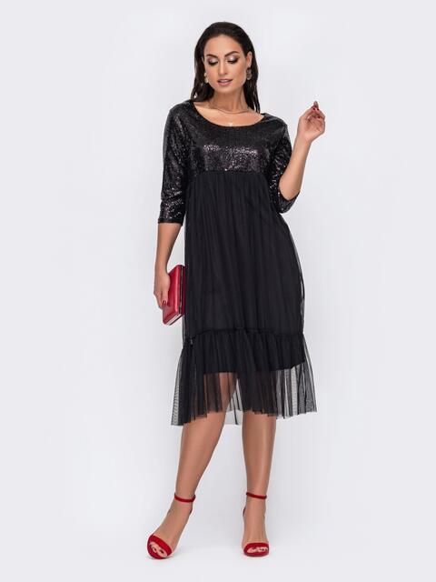 Двухслойное платье батал с пайетками на кокетке черное 52113, фото 1
