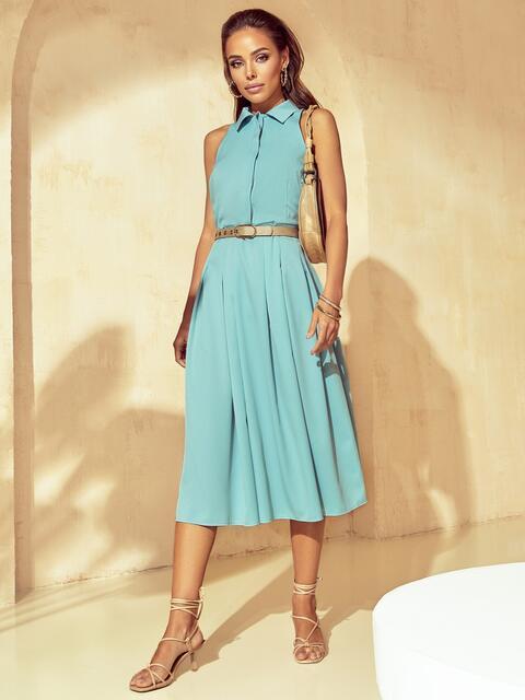 Расклешенное платье с американской проймой мятное 53855, фото 1