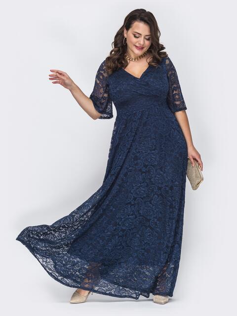 Темно-синее платье большого размера в пол из гипюра 52116, фото 1